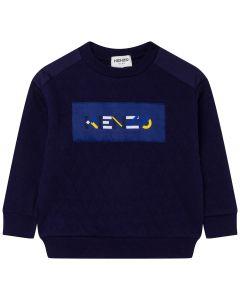 KENZO KIDS Navy Logo Quilted Effect Sweatshirt
