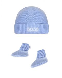 BOSS Kidswear Blue Cashmere Blend Hat & Booties Gift Set