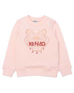 KENZO KIDS Girls Pale Pink Iconic Tiger 2021 Sweatshirt