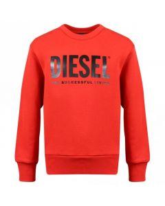 Diesel Boys Red Cotton Logo CREWDIVISION Sweatshirt