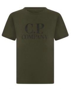 C.P. Company Boys Khaki Printed Hood T-Shirt