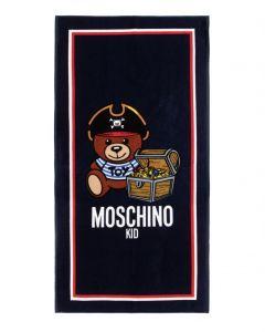Moschino Kid-Teen Blue Teddy Logo Pirate Towel (149cm)