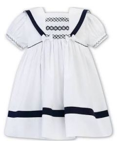 Sarah Louise Girls White & Navy  Hand-Smocked Sailor Dress