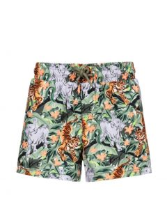 KENZO KIDS Green Island Tiger Swim Shorts