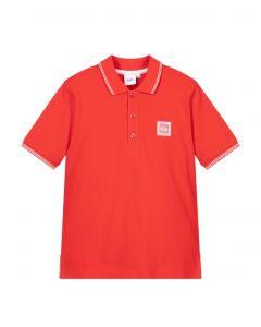 BOSS Kidswear Red Cotton White Logo Polo Shirt