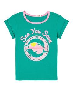 Billieblush Green Cotton Dolphin T-Shirt