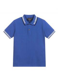 Emporio Armani Boys Bright Blue Cotton Logo Polo Shirt