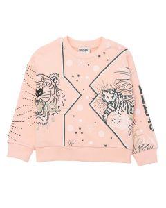 KENZO KIDS Girls Pink Multi Logo Cotton Logo Sweatshirt