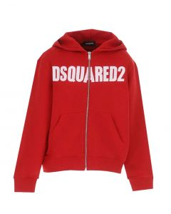 DSQUARED2 Red Large Printed Logo Zip Up Jumper With Hood