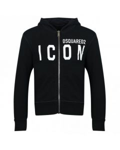 DSQUARED2 ICON Kids Black Zip Up Sweater With White Logo And Hood