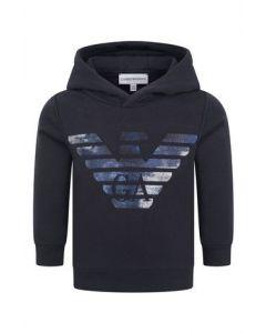 Emporio Armani Older Boys Navy Blue Shiny Eagle Logo Sweatshirt