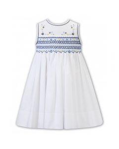 Sarah Louise Older Girls White & Shades of Blue Floral Smocked Dress