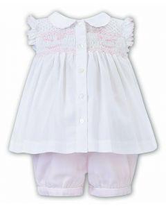 Sarah Louise Girls White Blouse and Pink Shorts Rocking Horse Set