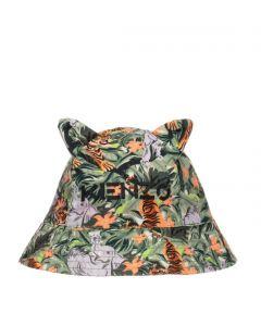 KENZO KIDS Boys Green Tiger Print Bucket Hat