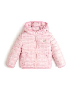 Guess Girl's Pink All-Over Teddy Print Jacket