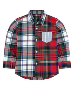 Il Gufo Boys Red and Green Check Cotton Shirt