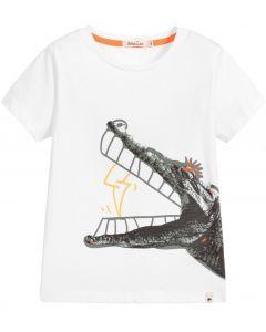 Billybandit White Cotton CrocodileT-Shirt