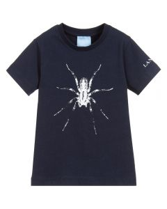 Lanvin Boys Blue Cotton White Spider T-Shirt