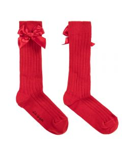 LILI GAUFRETTE Girls Red Cotton Long Socks