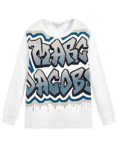 LITTLE MARC JACOBS Boy's White Cotton Logo Top