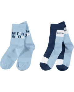 Mitch & Son Royal Pale Blue and Navy 'Parsonage' Socks (2 Pack)