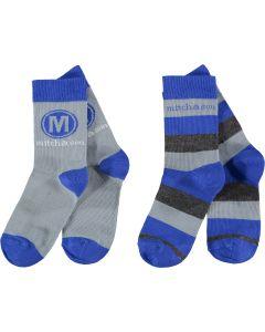 Mitch & Son Royal Blue & Grey 'Stafford' Socks (2 Pack)
