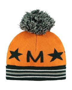 Mitch & Son Boys Orange & Khaki 'Moir'Knitted Hat