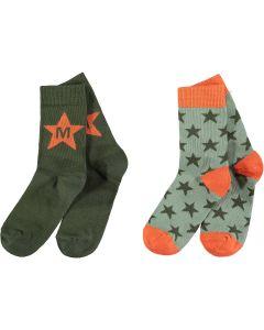 Mitch & Son Khaki & Orange 'Milnpark' Socks (2 Pack)