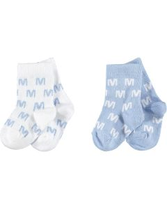 Mitch & Son Baby Boy's Pale Blue & White 'Hope' Socks (2 Pack)