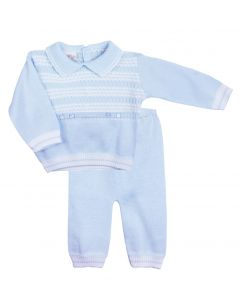 Pretty Originals Boys Blue Knitted Top And Trouser Set