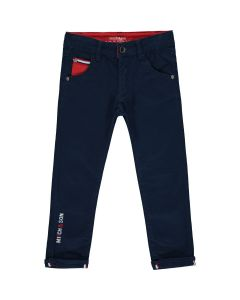 Mitch & Son Navy Blue Cotton Duncan Trousers