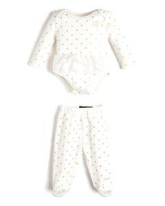 Guess Ivory & Gold Velour Babysuit Set