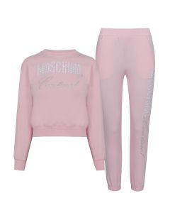 Moschino Couture Kids Pink Rhinestone Tracksuit