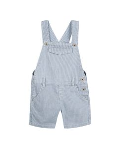 3Pommes Boys Blue Cotton Pin Striped Dungarees