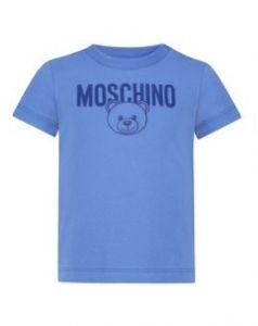 Moschino Kid-Teen Boys Strong Blue Cotton Logo T-Shirt