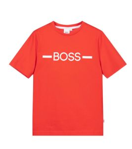 BOSS Kidswear Older Boys Red Cotton Logo T-Shirt