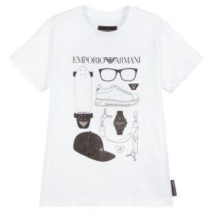 Emporio Armani Boys White Skateboard Logo Cotton T-Shirt