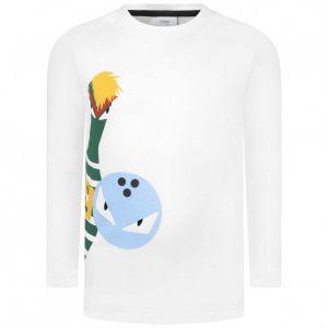 FENDI Boys White Long Sleeve Bowling T-Shirt