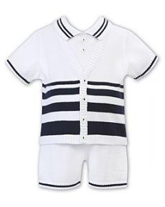 Sarah Louise Boys Navy & White Fine Knit Shorts Set