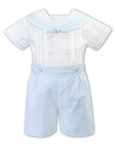 Sarah Louise White and Pale Blue Sailor Buster Suit