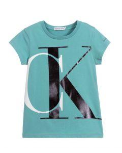 Calvin Klein Jeans Organic Cotton Logo Teal T-Shirt