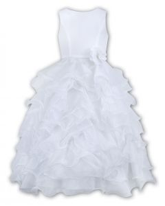 Sarah Louise White Sleeveless Ruffle Dress