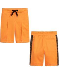 FENDI Boys Orange FF Logo Shorts
