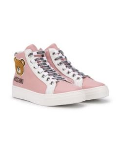 Moschino Kid-Teen Leather Pink High-Top Logo Trainers