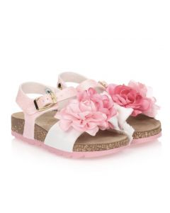 Monnalisa Pink Leather Floral Sandals