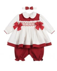 Pretty Originals Red & White Smocked Spot Dress Set