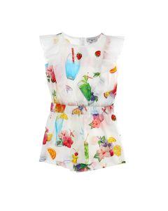 Monnalisa Girls White Tropical Print Playsuit