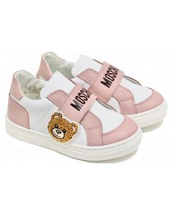 Moschino White and Pink Leather Velcro Toy Trainers