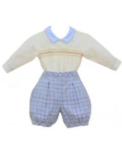 Pretty Originals Baby Boys Ivory & Pale Blue Checked Buster Suit