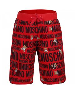 Moschino Kid-Teen Red and Black Cotton Bermuda Shorts